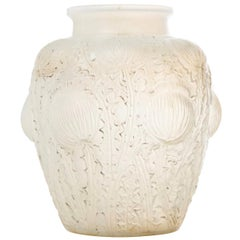 "Rene Lalique Opalescent Vase"" Domremy"""