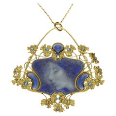 "René Lalique ""Pate sur Pate"" Enamel, Gold and Diamond Pendant"