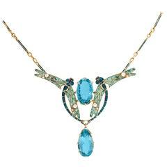 René Lalique Plique-à-Jour Enamel Dragonflies and Aquamarine Pendant Necklace