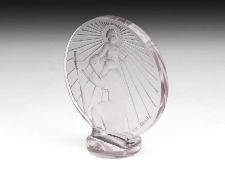 French Rene Lalique St Christophe Glass Car Mascot, 20th Century For Sale