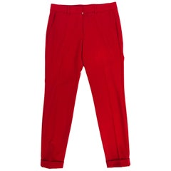 Rene Lezard Red Crepe Tapered Cuff Trousers 36