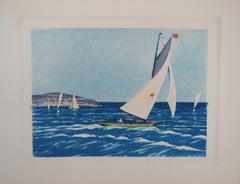 Atlantic : Regatta of Sailboats - Original etching