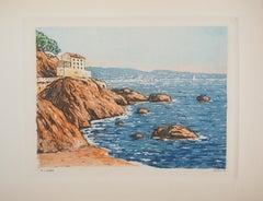 Mediterranean Sea : The house Near the Beach - Original etching