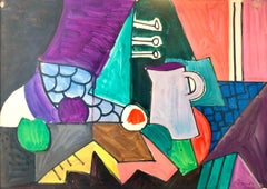 Canadian Abstract Modernist Colorful Watercolor and Gouache Painting, Drawing