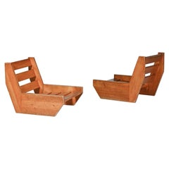 René Martin Pair of Pine Lounge Chair