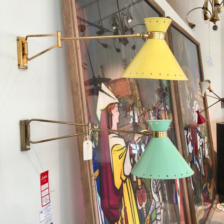 Mid-Century Modern R. Mathieu for Lunel Swing Arm Wall Sconce in Green For Sale