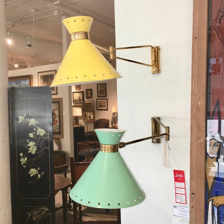 French R. Mathieu for Lunel Swing Arm Wall Sconce in Green For Sale