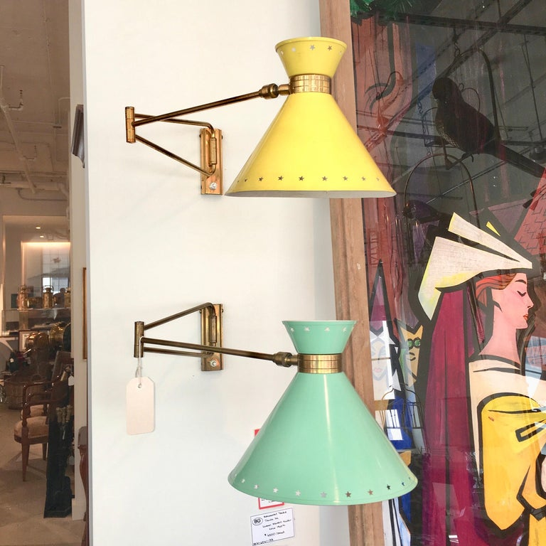 R. Mathieu for Lunel Swing Arm Wall Sconce in Green In Good Condition For Sale In Hingham, MA