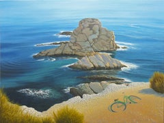 Evocation - Ocean Cliffside Scene Bathed in Warm Light and Blue Turquoise Water