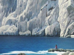 Full Hope - Oil Painting of Seaside Cliffs and Woman Sitting on Rocks