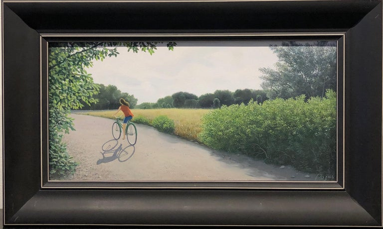 "Harvest, Female Figure Riding a Bicycle on a Country Road , Oil on Panel, Framed - Painting by René Monzón Relova ""Pozas"""