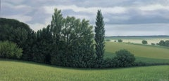 Lajania - Small Scale Highly Detailed Painting of Green Rolling Hills and Trees