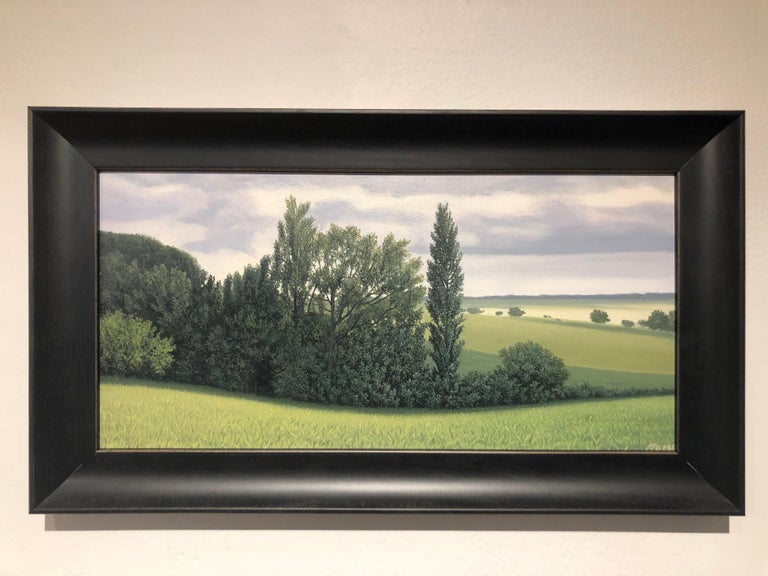 Lajania - Small Scale Highly Detailed Painting of Green Rolling Hills and Trees For Sale 1