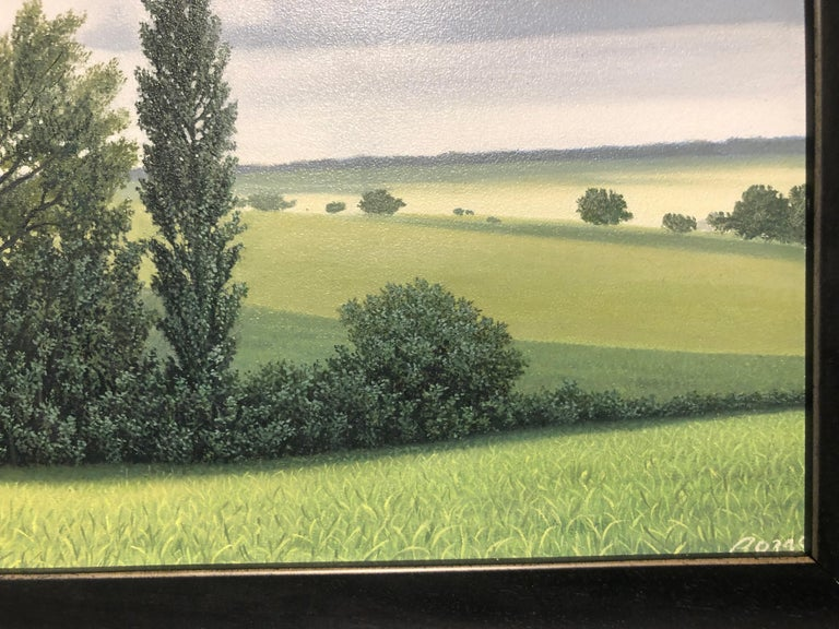 Lajania - Small Scale Highly Detailed Painting of Green Rolling Hills and Trees For Sale 2