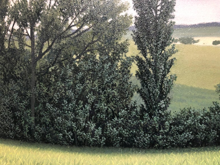 Lajania - Small Scale Highly Detailed Painting of Green Rolling Hills and Trees For Sale 3