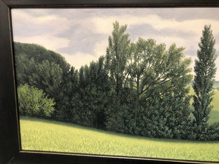 Lajania - Small Scale Highly Detailed Painting of Green Rolling Hills and Trees For Sale 4