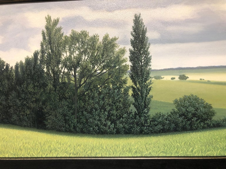 Lajania - Small Scale Highly Detailed Painting of Green Rolling Hills and Trees For Sale 5