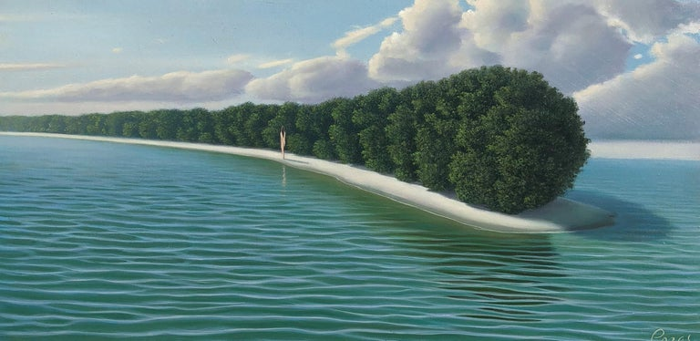 "René Monzón Relova ""Pozas"" Landscape Painting - My Isla - Highly Detailed Surreal Island Landscape with Blue Turquoise Water"