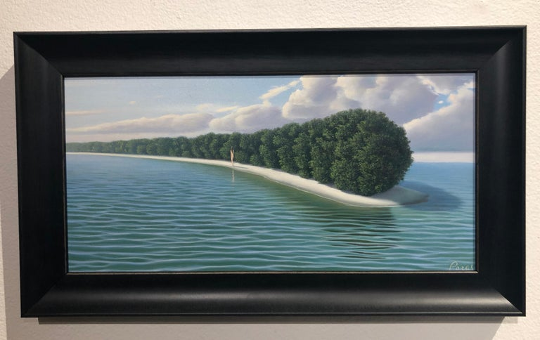 "My Isla - Highly Detailed Surreal Island Landscape with Blue Turquoise Water - Painting by René Monzón Relova ""Pozas"""
