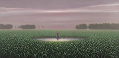 René, Lone Figure Fishing on a Surreal Pond, Small Scale Oil on Panel, Framed