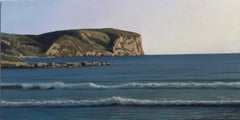 The First Day, Ocean Waves and Rocky Cliffs, Landscape Painting, Oil on Panel