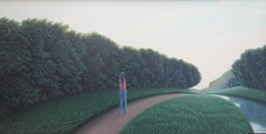 The Imaginary Flight - Highly Detailed Painting of Green Rolling Hills and Trees