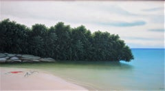 The Next Calm - Original Oil Painting of Serene Beach Scene with Aqua Blue Water