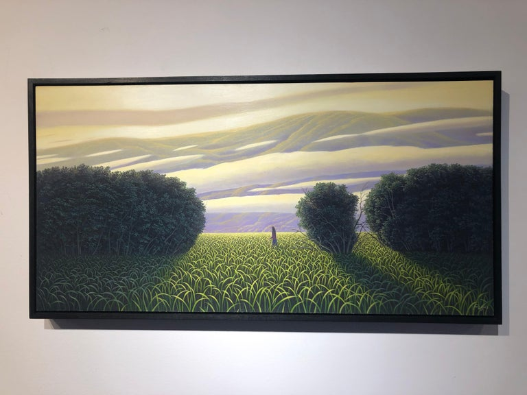 "The Perfect Evening - Original Oil Painting of Figure in a Surreal Landscape - Black Landscape Painting by René Monzón Relova ""Pozas"""
