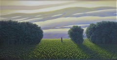 The Perfect Evening - Original Oil Painting of Figure in a Surreal Landscape