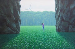 The Perseverance - Highly Detailed Painting of Woman in Pastoral Scene