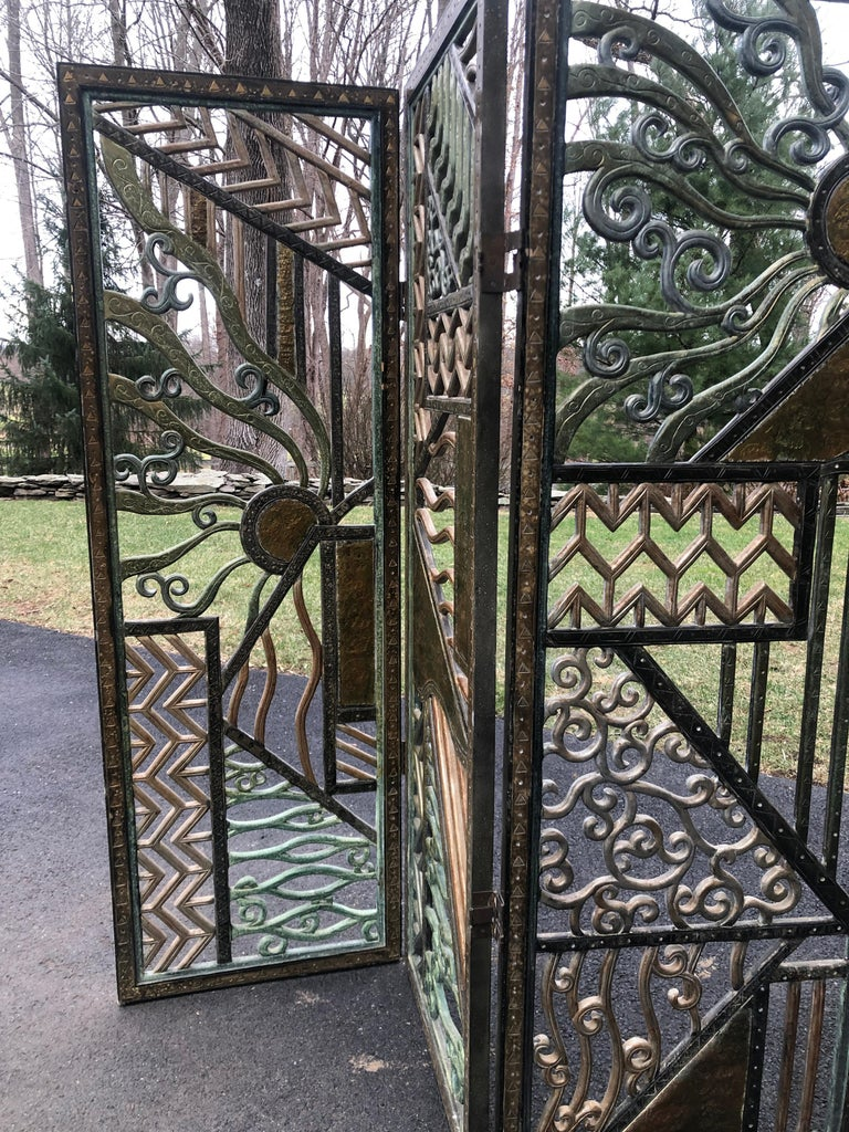 Rene Paul Chambellan Style Art Deco Screen Mixed Metal For Sale 3