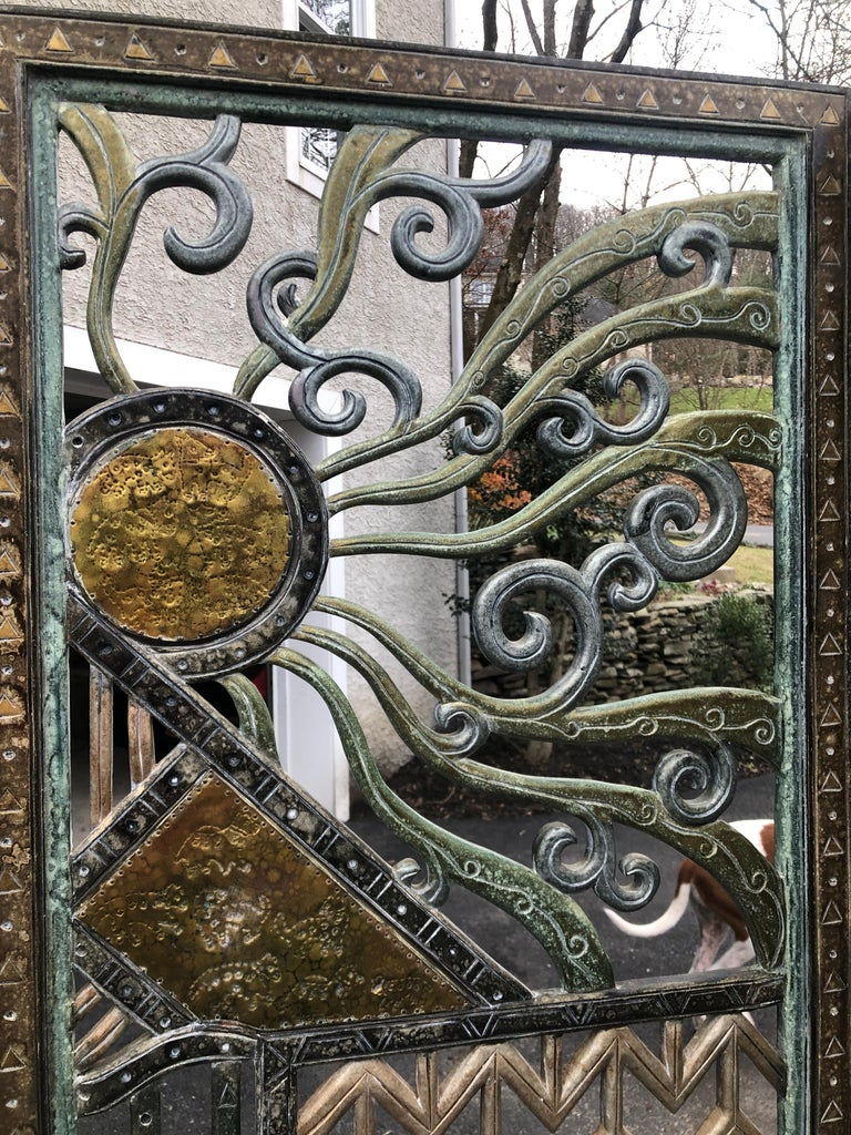 Rene Paul Chambellan Style Art Deco Screen Mixed Metal For Sale 9