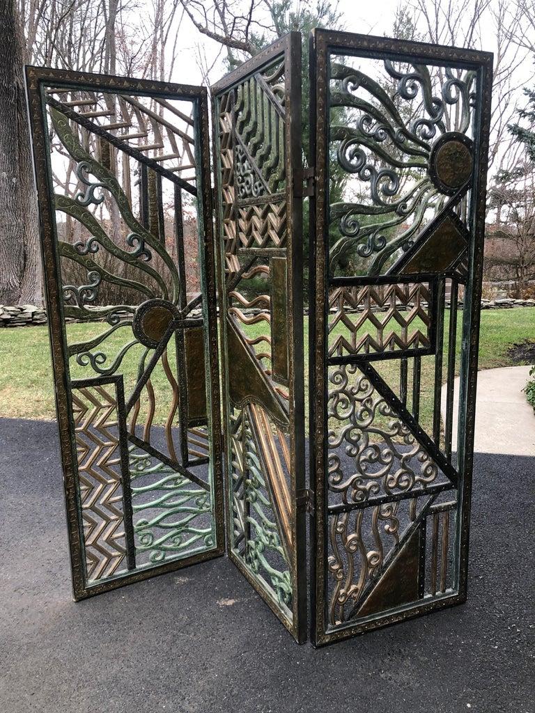 American Rene Paul Chambellan Style Art Deco Screen Mixed Metal For Sale