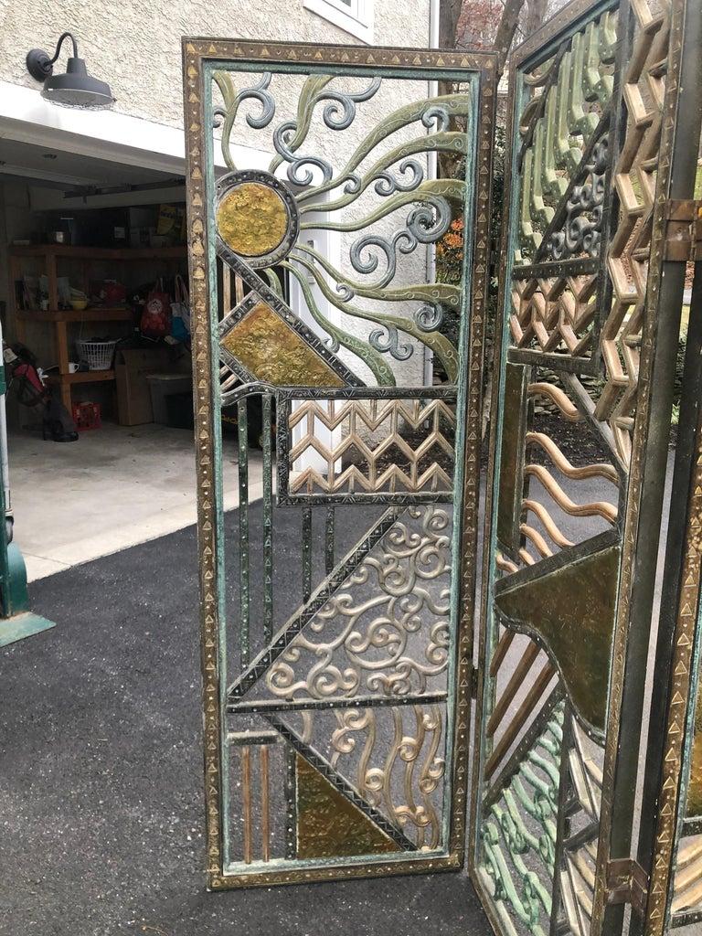 Bronzed Rene Paul Chambellan Style Art Deco Screen Mixed Metal For Sale