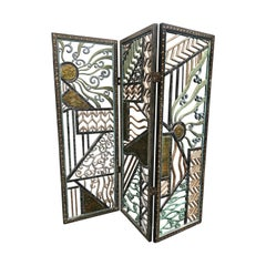 Rene Paul Chambellan Style Art Deco Screen Mixed Metal