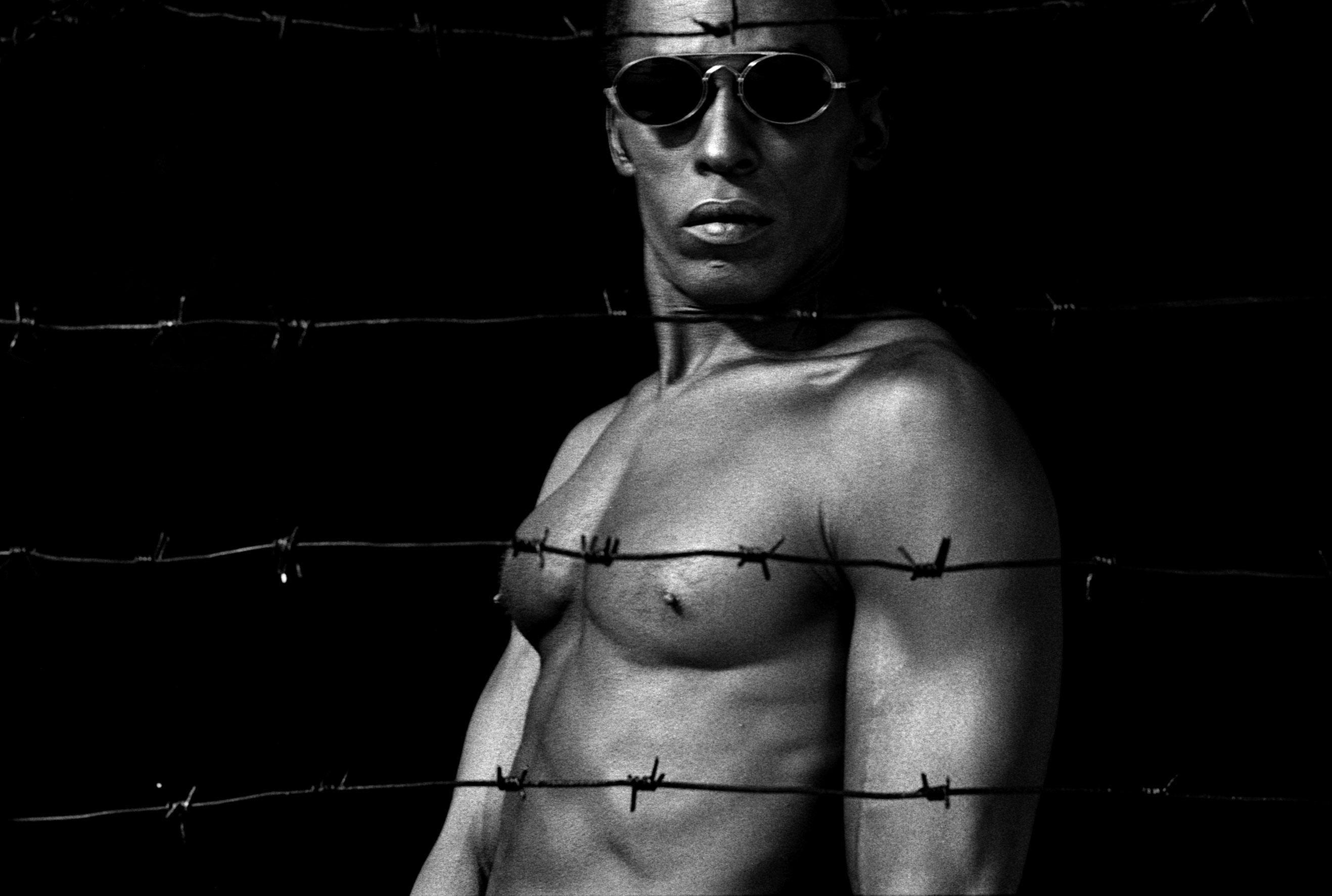 Untitled, Black & White - Self Portrait by René Peña