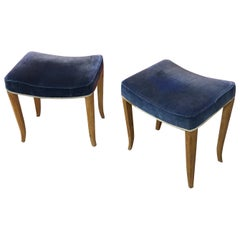 René Prou, 2 Art Deco Stools in Lacquered Wood and Blue Velvet, circa 1940-1950