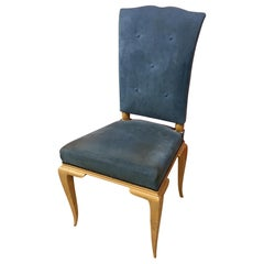 René Prou, Art Deco Chair in Lacquered Wood and Blue Velvet, circa 1940-1950