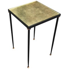 René Prou, Elegant Side Table in Lacquered and Gilded Metal, circa 1940