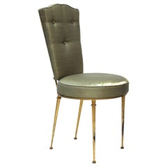 Rene Prou French Mid-Century Modern Side Chair or Vanity Chair in Gilt Metal