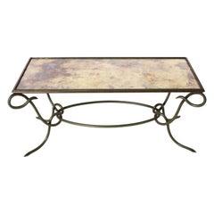 Rene Prou Green Metal Coffee Table, circa 1950