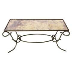 Rene Prou Green Metal Coffee Table with Antique Mirror, circa 1950