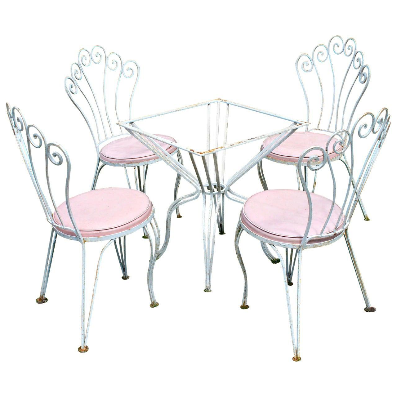 Rene Prou Style Wrought Iron Patio Set