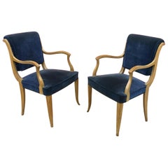 René Prou, Two Art Deco Armchairs in Lacquered Wood and Blue Velvet