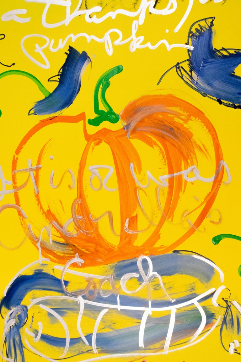 This is not a Thanksgiving pumpkin: autumnal orange yellow and silver painting - Painting by Rene Ricard