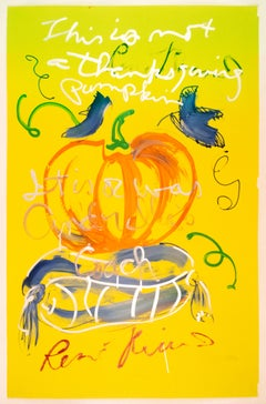 This is not a Thanksgiving pumpkin: Rene Ricard orange yellow silver painting