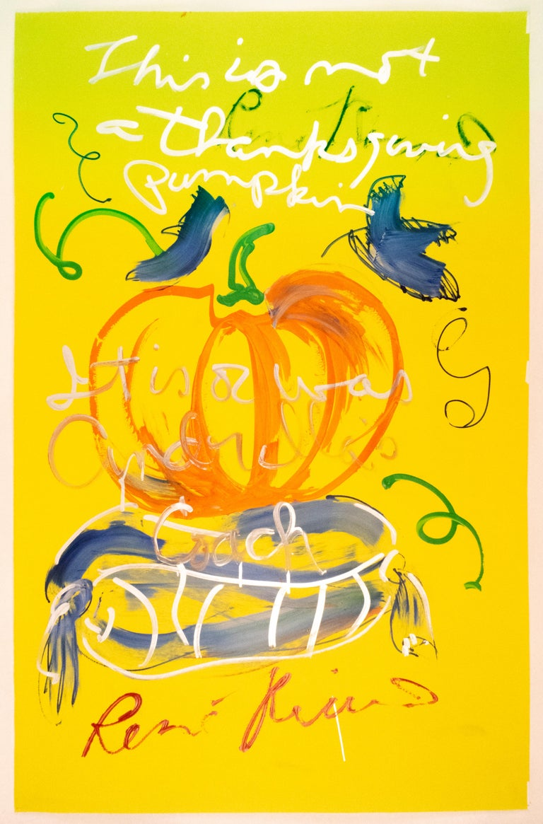 Rene Ricard Abstract Painting - This is not a Thanksgiving pumpkin: autumnal orange yellow and silver painting
