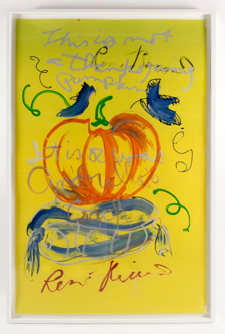 This is not a Thanksgiving pumpkin Rene Ricard FRAMED autumnal painting orange - Contemporary Painting by Rene Ricard