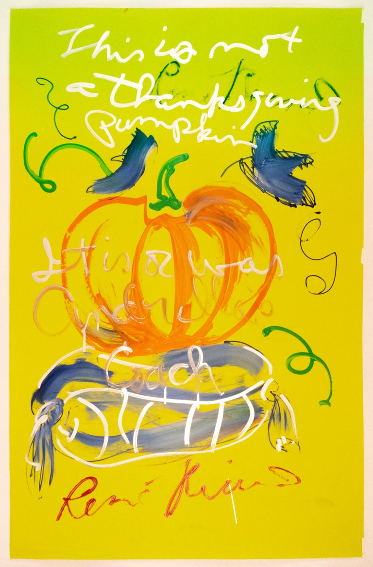 This is not a Thanksgiving pumpkin Rene Ricard FRAMED autumnal painting orange - Painting by Rene Ricard