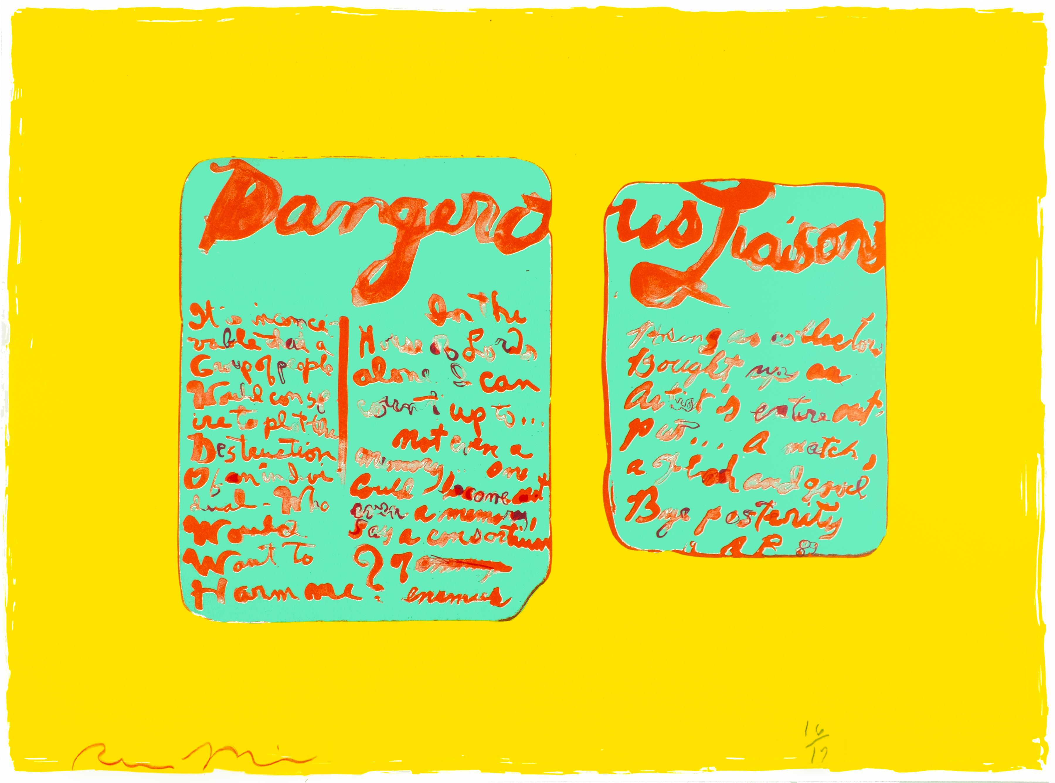 Dangerous Liaisons: Yellow, red, Tiffany blue abstract print with poetry